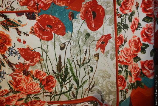"""Шитье ручной работы. Ярмарка Мастеров - ручная работа. Купить Ткань плательная """"Маки и розы""""  шелк натуральный. Handmade. Ткань"""