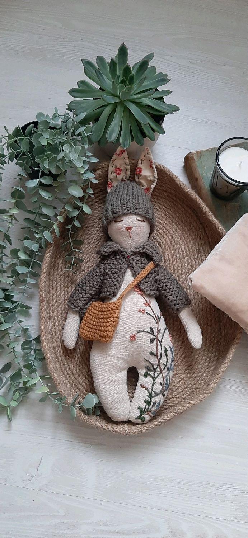 Текстильный заяц Лесной, Тильда Зверята, Санкт-Петербург,  Фото №1