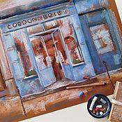 Картины и панно handmade. Livemaster - original item Five o clock Painting with pastels (blue brick café, town). Handmade.