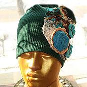 Текстильная бохо-шапочка зелёная №2