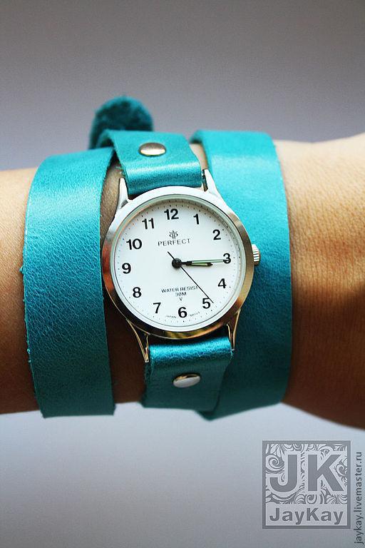 Часы ручной работы. Ярмарка Мастеров - ручная работа. Купить Часы наручные JK. Handmade. Бирюзовый, ремешок, часы наручные