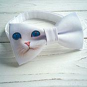 Галстуки ручной работы. Ярмарка Мастеров - ручная работа Галстук бабочка с принтом кошка. Handmade.