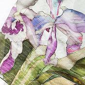 """Аксессуары ручной работы. Ярмарка Мастеров - ручная работа Платок """"Орхидеи"""" холодный батик. Handmade."""
