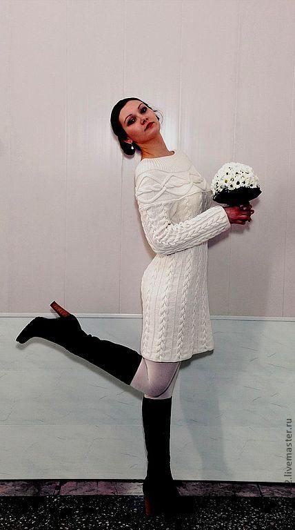 """Платья ручной работы. Ярмарка Мастеров - ручная работа. Купить Платье вязаное""""White-2017""""  (25 косичек). Handmade. Белый"""