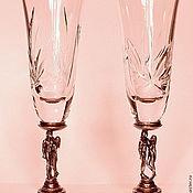 """Свадебный салон ручной работы. Ярмарка Мастеров - ручная работа Свадебные  бокалы """"ДВОЕ"""" из хрусталя на бронзовой вставке. Handmade."""
