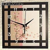 """Для дома и интерьера ручной работы. Ярмарка Мастеров - ручная работа Часы настенные """"Сакура"""" в японском стиле. Handmade."""