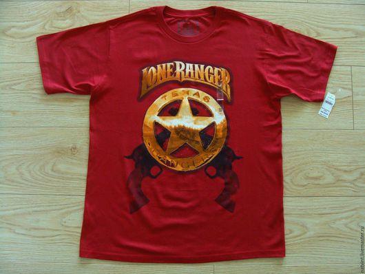 """Футболки, майки ручной работы. Ярмарка Мастеров - ручная работа. Купить Disney, бордовая футболка """"Техас"""", США, 52 размер. Handmade."""