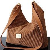 Сумки и аксессуары handmade. Livemaster - original item Bag: Bag made of light brown corduroy and genuine leather. Handmade.