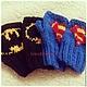 Варежки, митенки, перчатки ручной работы. Митенки Супермен. Handmake. Ярмарка Мастеров. Фанат, перчатки вязаные, день влюбленных