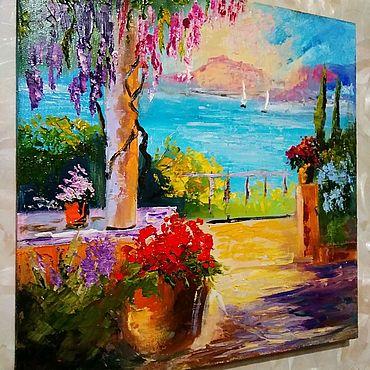 Картины и панно ручной работы. Ярмарка Мастеров - ручная работа Южный городок.  Картина маслом. Handmade.
