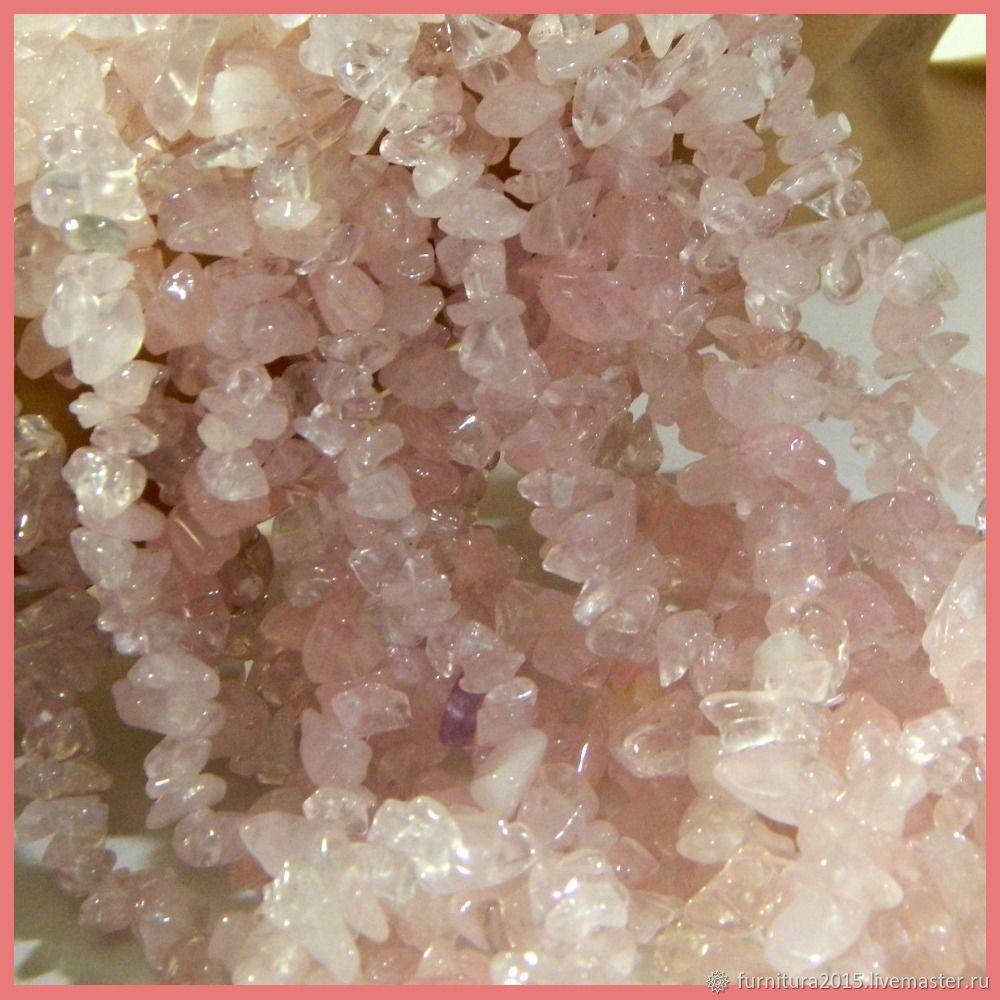Розовый кварц 83 см каменная крошка длина нити.Нить, Бусины, Саратов,  Фото №1