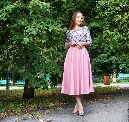 """Юбки ручной работы. Ярмарка Мастеров - ручная работа. Купить Юбка и блузка """"Розовая дымка"""". Handmade. Однотонный, юбка с подъюбником"""