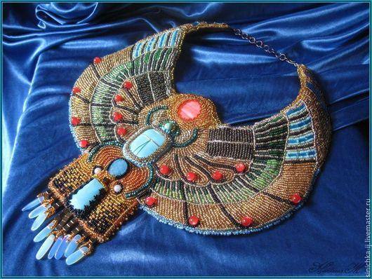"""Колье, бусы ручной работы. Ярмарка Мастеров - ручная работа. Купить Ожерелье """"Скарабей"""". Handmade. Ожерелье, перламутр, колье из камней"""