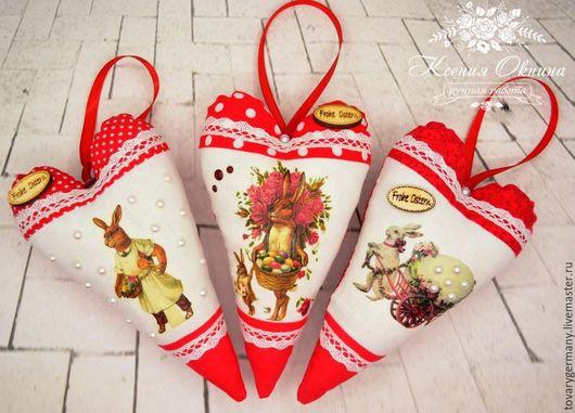 """Подарки на Пасху ручной работы. Ярмарка Мастеров - ручная работа. Купить Пасхальные сердечки """"Пасха Красная"""", подарок на Пасху. Handmade."""