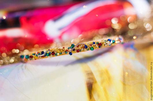 """Детская бижутерия ручной работы. Ярмарка Мастеров - ручная работа. Купить Бархатная диадема для волос """"Арлекино II"""". Handmade. Желтый"""