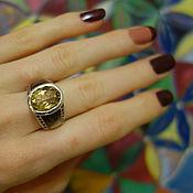 """Украшения ручной работы. Ярмарка Мастеров - ручная работа """"Сибиль""""-стильный серебряный перстень с цитрином,перламутром,гранатами. Handmade."""