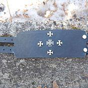 Украшения handmade. Livemaster - original item Wide leather bracelet buckle Knight`s cross. Handmade.