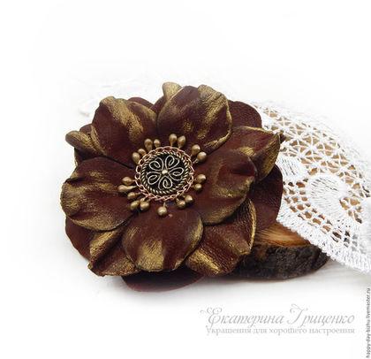 цветы из кожи брошь-цветок из кожи, кожаная брошь, кожаные брошки, купить цветок из кожи, кожаные украшения, роза из кожи