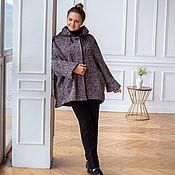 Одежда handmade. Livemaster - original item Coat made of Italian wool oversize herringbone bordeaux sizes 52-60. Handmade.