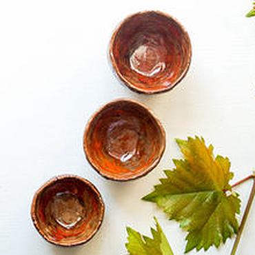 """Посуда ручной работы. Ярмарка Мастеров - ручная работа пиалы """"первые осенние листья"""" раку керамика. Handmade."""