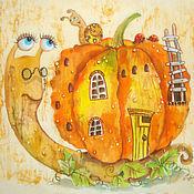 Картины и панно ручной работы. Ярмарка Мастеров - ручная работа Тыквенный домик ( батик панно)РЕЗЕРВ. Handmade.