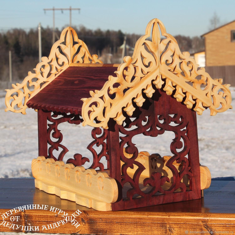 The bird feeder `Teremok`. Wooden toys from Grandpa Andrewski.