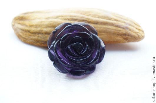 Для украшений ручной работы. Ярмарка Мастеров - ручная работа. Купить Роза из аметиста подвеска 35х35 мм. Handmade. Фиолетовый
