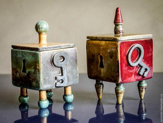"""Шкатулки ручной работы. Ярмарка Мастеров - ручная работа. Купить Шкатулка """" замок и ключ """" .. Handmade. Разноцветный, керамика"""
