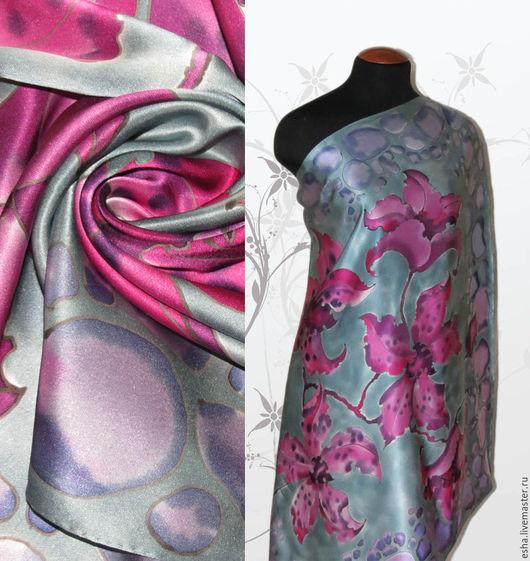 """Шали, палантины ручной работы. Ярмарка Мастеров - ручная работа. Купить Шелковый платок """"Платиновая орхидея"""", батик, ручная роспись шелка. Handmade."""