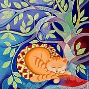 """Картины и панно ручной работы. Ярмарка Мастеров - ручная работа Картина """"О чем мечтают кошки?"""". Handmade."""