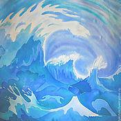 """Аксессуары ручной работы. Ярмарка Мастеров - ручная работа Шелковый платок батик """"Море"""", ручная , натуральный шелк. Handmade."""