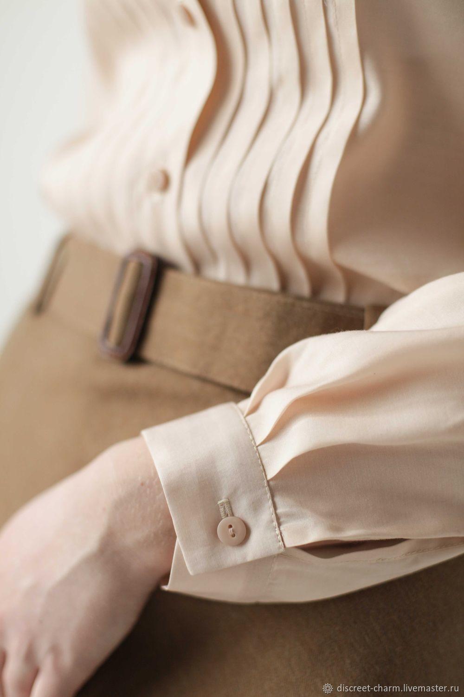 9f38563ed85 ... Блузки ручной работы. Кремовая блузка из шёлка с вискозой