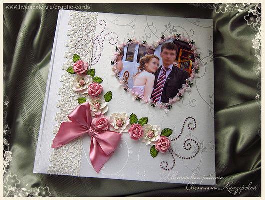 """Свадебные фотоальбомы ручной работы. Ярмарка Мастеров - ручная работа. Купить Альбом с бумаж. л. """"Сердце """" в коробке  разные цве. Handmade."""