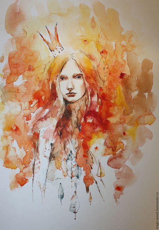 Люди, ручной работы. Ярмарка Мастеров - ручная работа. Купить Девочка-Осень. Handmade. Рыжий, абстракция, девочка, акварель, подарок