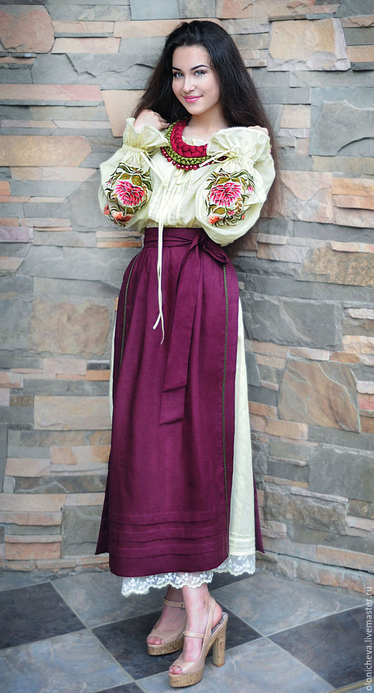 Костюмы ручной работы. Ярмарка Мастеров - ручная работа. Купить ПРОДАНО! Женский вышитый костюм в этно-стиле «Дивный сад-2». Handmade.