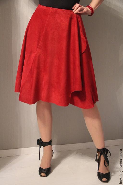 Юбки ручной работы. Ярмарка Мастеров - ручная работа. Купить Замшевая юбка винного цвета. Handmade. Бордовый, замшевая одежда