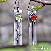 Украшения handmade. Livemaster - original item Silver Raznotravye rectangular Earrings, garnet peridot. Handmade.