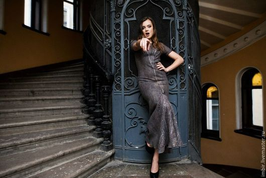 """Платья ручной работы. Ярмарка Мастеров - ручная работа. Купить Платье """"Серо-бежевый"""". Handmade. Серый, длинное платье"""