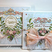 Свадебный салон ручной работы. Ярмарка Мастеров - ручная работа Свадебная открытка голубая с розовым  в коробке. Handmade.