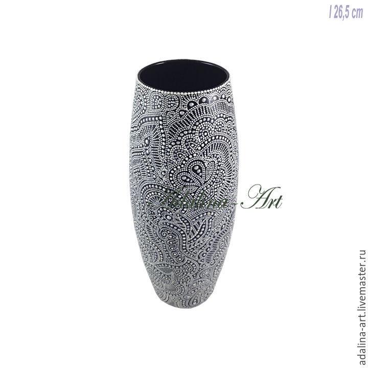 БЕЛЫЙ ТАНЕЦ ваза Точечная роспись