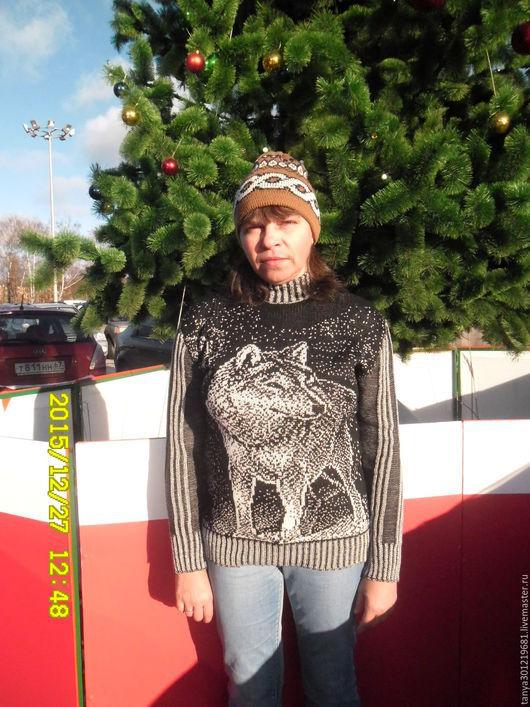 """Кофты и свитера ручной работы. Ярмарка Мастеров - ручная работа. Купить Свитер """" Волк 1 """". Handmade. Черный"""