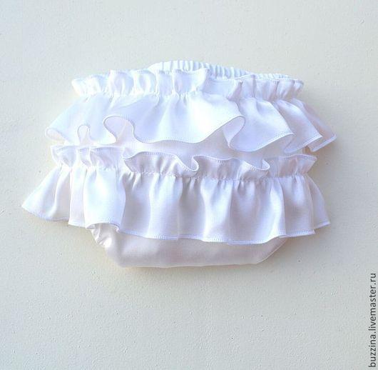 Для новорожденных, ручной работы. Ярмарка Мастеров - ручная работа. Купить Трусики для фотосессии из шелка блумеры для девочки bloomer белые. Handmade.