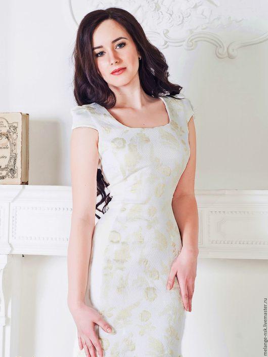 Платья ручной работы. Ярмарка Мастеров - ручная работа. Купить Белое платье с золотой вышивкой и кружевом. Handmade. Белый