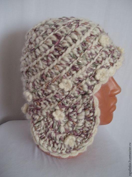 Шапки ручной работы. Ярмарка Мастеров - ручная работа. Купить шапка с ушками, из шерсти Осенний блюз. Handmade. Абстрактный