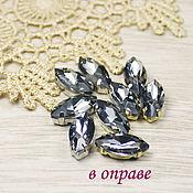 Материалы для творчества handmade. Livemaster - original item Glass rhinestone 15h7 mm Black diamond in gold and gray. rims. Handmade.