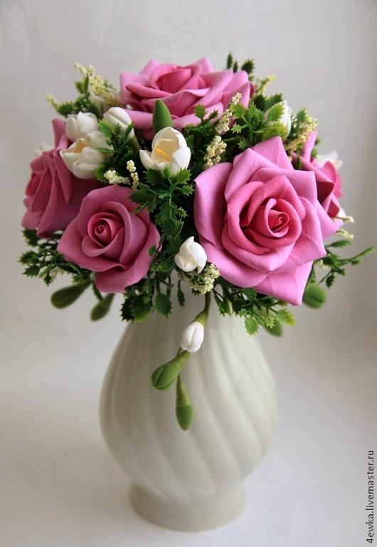 Интерьерные композиции ручной работы. Ярмарка Мастеров - ручная работа. Купить Композиция с розами. Handmade. Розовый, подарок девушке