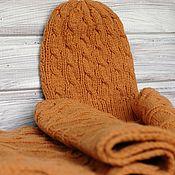 Аксессуары handmade. Livemaster - original item Hat and scarf knitted with braids Golden autumn. Handmade.