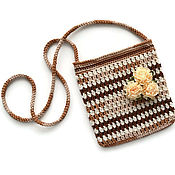 Работы для детей, handmade. Livemaster - original item A handbag and a bracelet for girls knitted cotton set. Handmade.