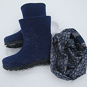 """Обувь ручной работы. Ярмарка Мастеров - ручная работа Валенки и шарф-снуд """"Огонь"""" синий. Handmade."""