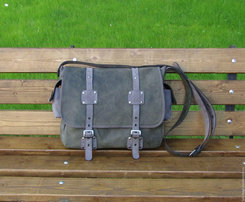 Men's leather messenger bag LEGION khaki with grey, Men\'s bag, Izhevsk,  Фото №1